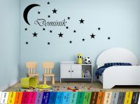 Nálepka na zeď - Měsíc s hvězdami a Jménem