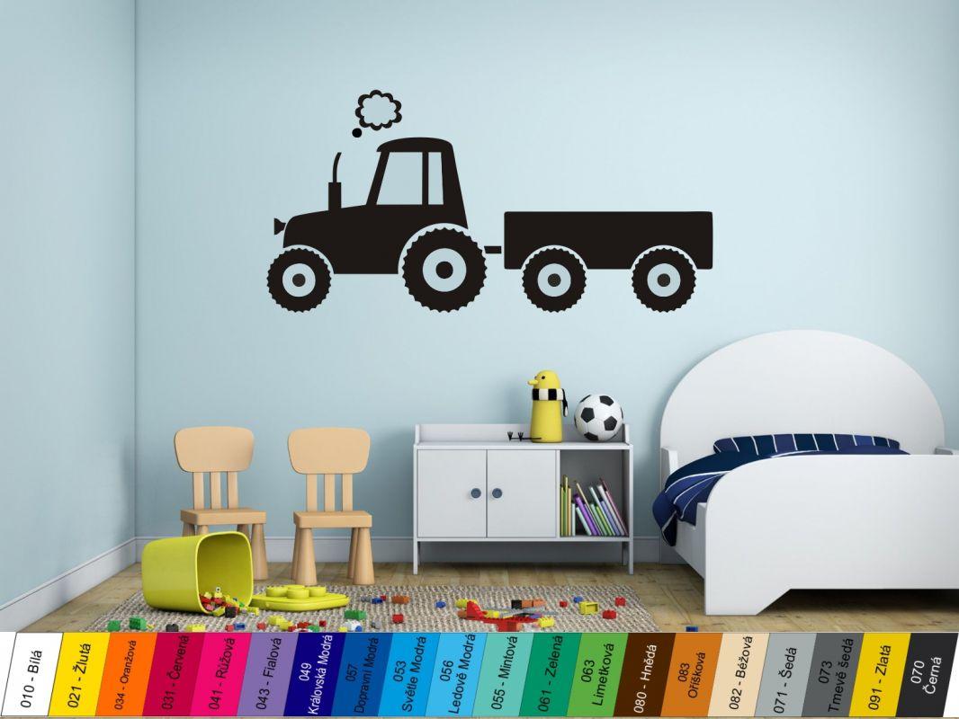 Nálepka na zeď - Traktůrek s vlečkou Home Deco