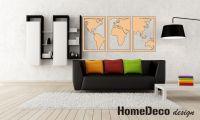 3D dřevěná dekorace na zeď - Mapa Světa