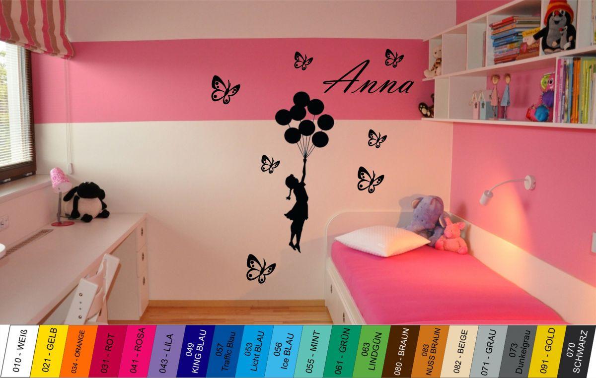 Nálepka na zeď - Dívka s balónky, Jménem a Motýlky Home Deco
