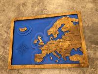 3D dřevěná dekorace na zeď - Mapa Evropy