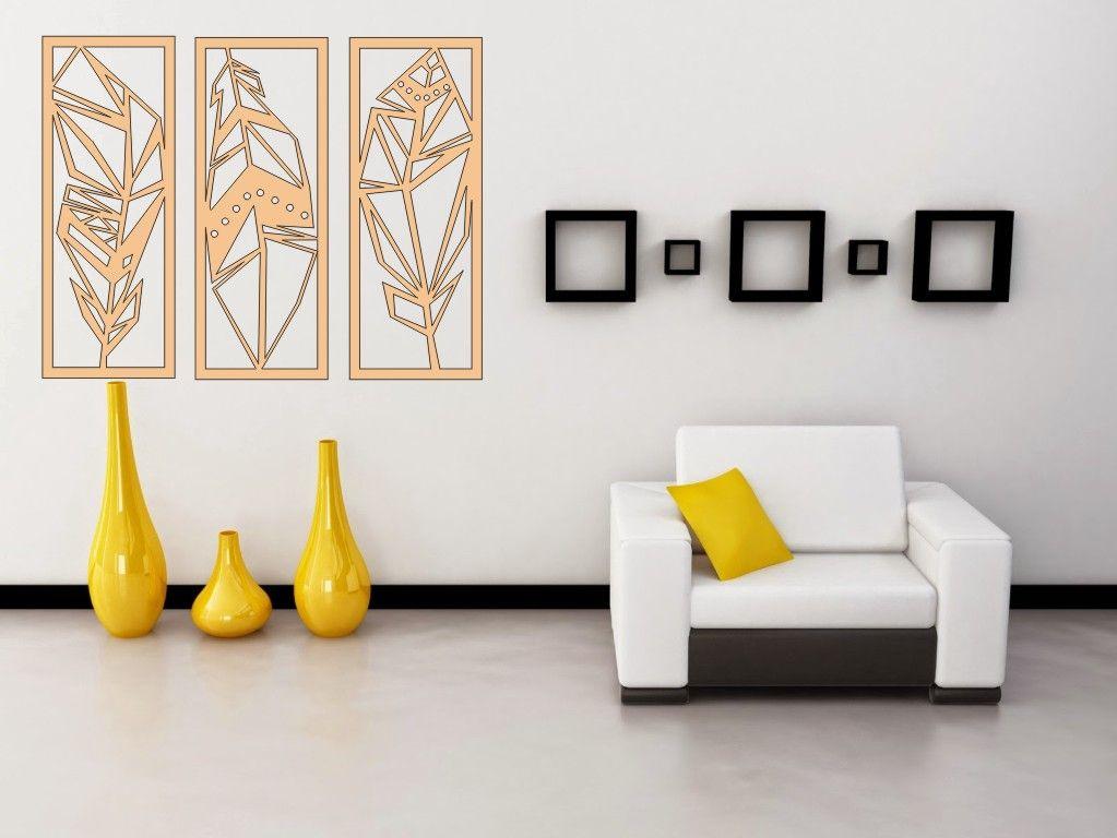 3D dřevěná dekorace na zeď - Pírka Home Deco