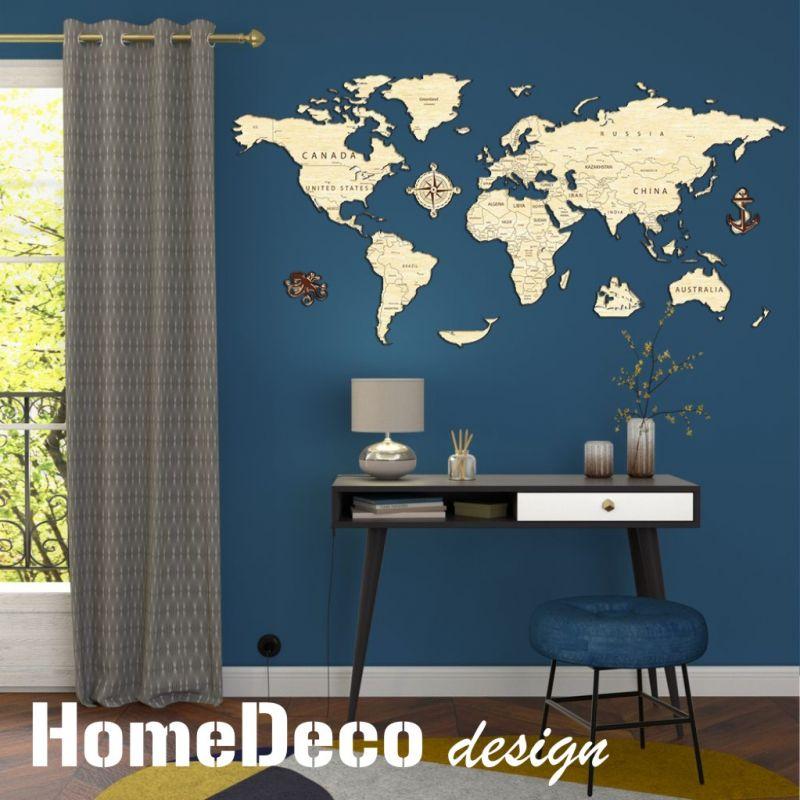 3D dřevěná skládačka - Mapa Světa Home Deco