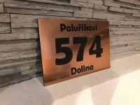 Broušená měď & Černá  - Moderní číslo popisné na dům, plot, vchod v mnoha barevných provedeních