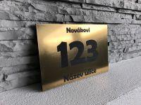 Broušená zlatá & Černá  - Moderní číslo popisné na dům, plot, vchod v mnoha barevných provedeních