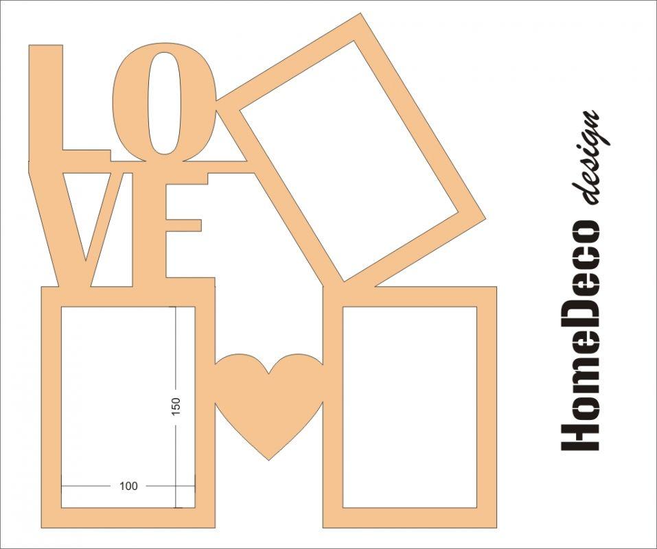 """Dřevěný fotorámeček s nápisem """"Love"""" Home Deco"""