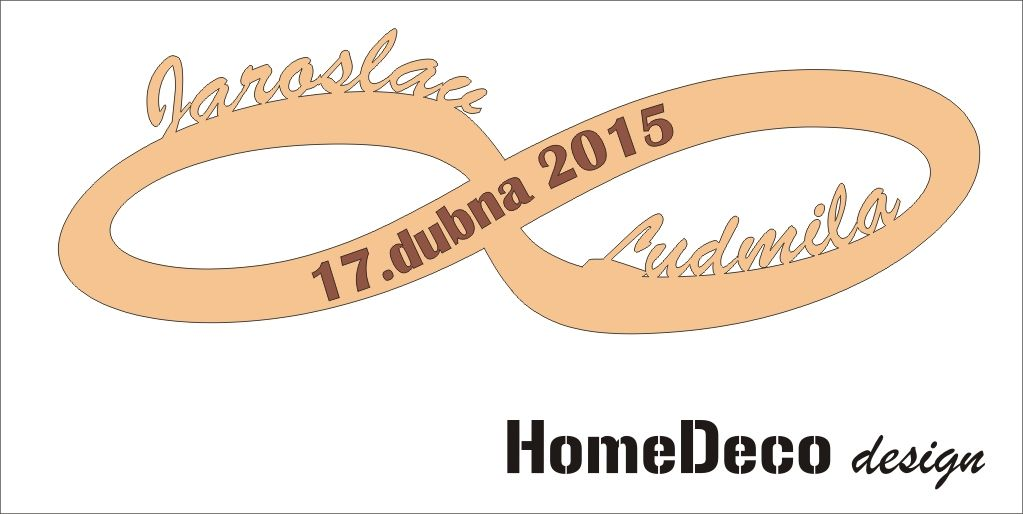 Symbol nekonečna se jmény a datumem Svatby Home Deco